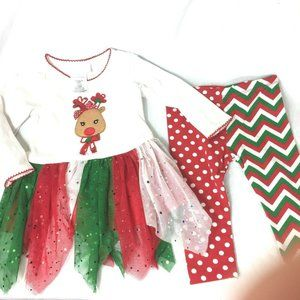 Bonnie Baby Christmas 2 Piece Outfit 12 Months